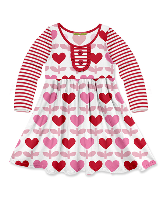 38eaca3e442 Millie Loves Lily Red Heart   Stripe Button-Front A-Line Dress ...