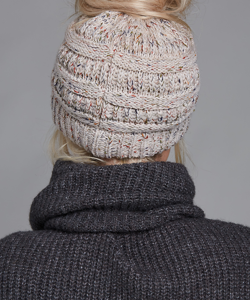 88e772006fe6c C.C® Oatmeal Speckle Knit Bun Beanie - Women