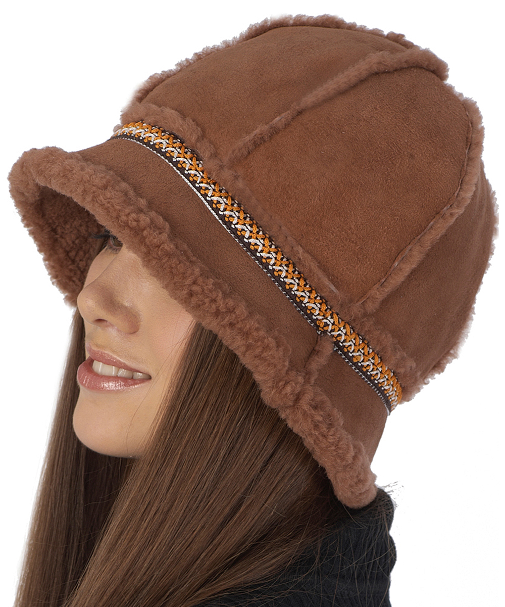 3527ca046d066 ... Womens Brown Brown   Orange Geometric-Trim Shearling Bucket Hat -  Alternate Image ...