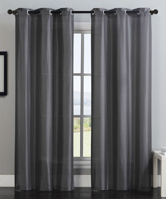VCNY Home  Window Curtains CHARCOAL - Charcoal Monroe Curtain Panel - Set of Two
