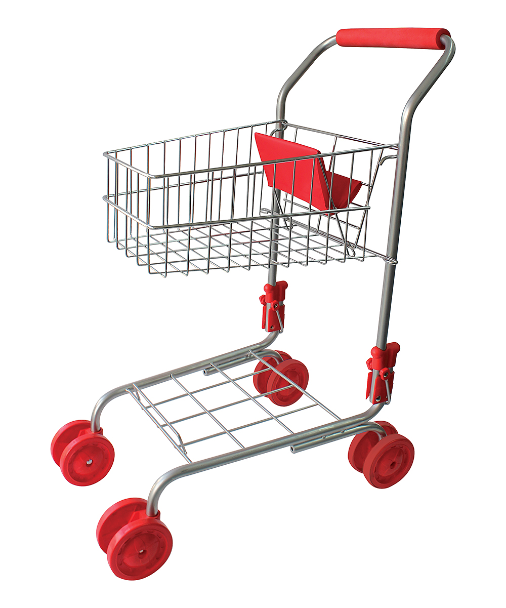 Red Shopping Cart Toy Red Shopping Cart Toy. Entertain your little one for hours with this pretend shopping cart and inspire creativity through pretend play.   Includes 19 piece accessory set17'' W x 23.5'' H x 11.5'' DRecommended for ages 4 to 6 yearsMetal and plasticImported