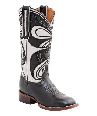 62776e382ca5 Black   Aisha Bone Hypnotic Swirl Leather Cowboy Boot - Women