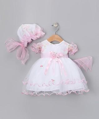 White   Pink Curlicue Dress   Bonnet - Infant, Toddler   Girls 3cd4ccc6c70