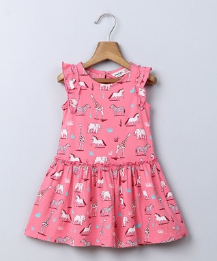 abe272dfcf36 Pink Animal Angel-Sleeve Dress - Newborn
