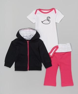 48ae72f39 White & Pink Swan Bodysuit Set - Newborn & Infant