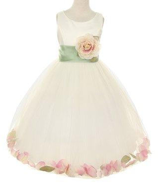 Ivory   Peach Rose Petal Dress - Toddler   Girls 0284bc5ec5ca