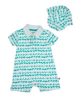fa88162a61b Blue   White Wave Romper   Baseball Cap - Infant