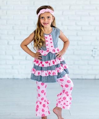 Pink   Gray Polka Dot Tunic   Pants - Girls 34404ce7a5f8