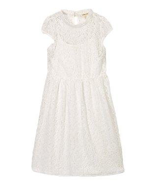 Off-White Lace Cap-Sleeve Dress - Girls 3e9358741707