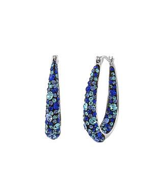fe7576cbd54f46 Blue & Silvertone Hoop Earrings With Swarovski® Crystals