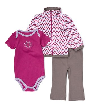 c58f759df Purple & Gray Lotus Jacket Set - Newborn & Infant