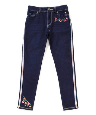 Blue Floral-Accent Dark Wash Valiant Jeggings - Girls a10deae3b