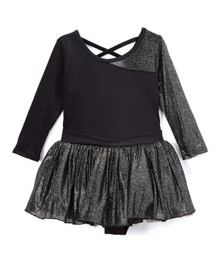 547698d885737 Black Three-Quarter Sleeve Skirted Leotard - Girls
