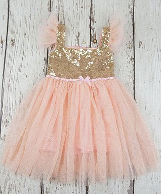 Blush Sequin-Accent Angel-Sleeve Dress - Toddler   Girls 911068a4b352