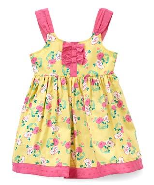 51c3e189dd20 Yellow   Pink Floral Sleeveless Dress - Newborn   Toddler