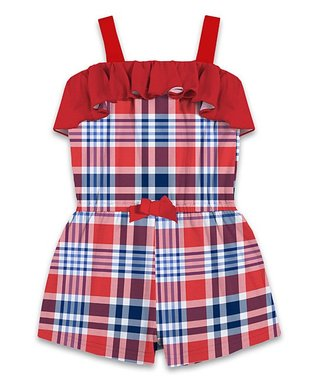 bee5f592036 Red   Blue Plaid Ruffle Romper - Toddler   Girls