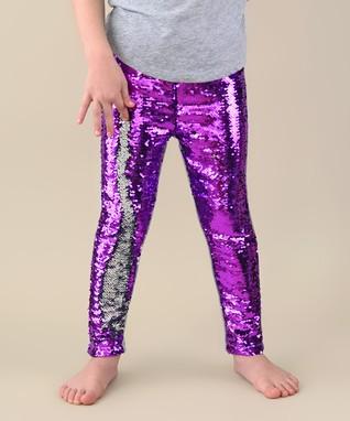 Purple   Silver Reversible Sequin Slim-Fit Leggings - Infant b7f36253e