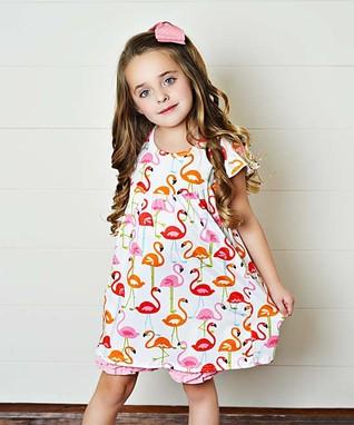 51b0e87c9684 White   Pink Flamingo A-Line Dress   Ruffle-Hem Shorts - Girls
