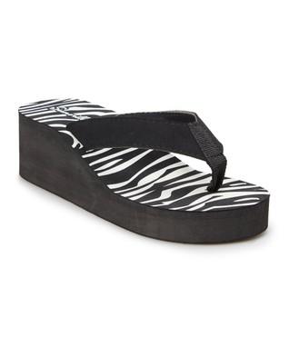 bd5ffab79c31 Black Zebra Print Wedge Flip-Flop - Women