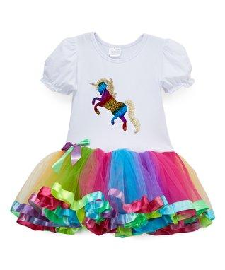 f219f88970 White   Rainbow Unicorn Drop-Waist Dress - Toddler   Girls