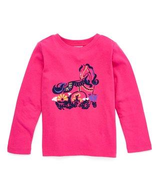 6bd20f70 Pink Flower Horse Supersoft Jersey Long-Sleeve Art Tee - Toddler
