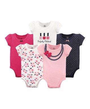 bc88559be38e Pink Necklace-Print Five-Piece Bodysuit Set - Newborn   Infant