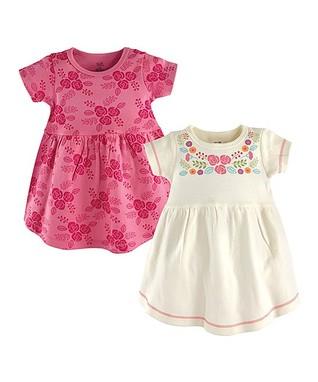 7fb9e4a87bf0 Pink   White Floral Organic Cotton A-Line Dress Set - Newborn