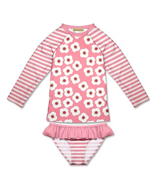 c6dec78db3 Pink Floral   Stripe Raglan Rashguard Set - Infant