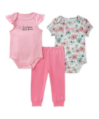 f2e75575060 Pink   Mint Floral Angel-Sleeve Bodysuit Set - Newborn   Infant