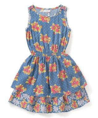 42cfcfcffb7d Blue Floral Sleeveless Top of the Class Dress - Girls