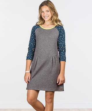 Gray   Navy Dot Weekend With You Dress - Girls 92bc8978b