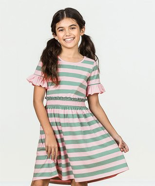 c8b230fadb3 Pink   Green Stripe True North Dress - Toddler   Girls