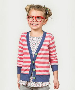 97710a59527 Red   White Stripe Go Marching Cardigan - Toddler   Girls