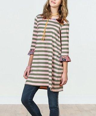 f68b71303ab7 Pink   Green Stripe Kumbaya Dress - Girls