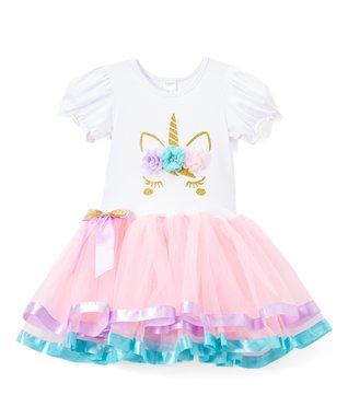 e321300c06 Light Pink   White Flower-Accent Unicorn A-Line Dress - Infant