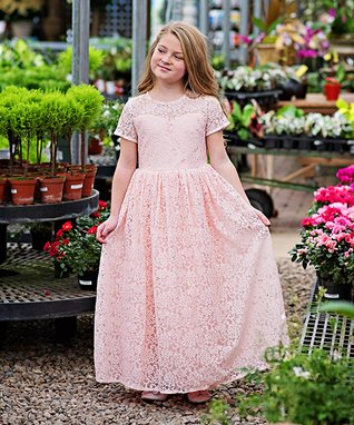 d88f379a733 Pink Leah Lace Short-Sleeve Gown - Toddler   Girls