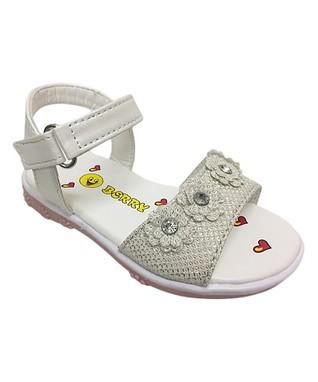 dcf74ab02cd4 White Floral Ankle-Strap Sandal - Girls