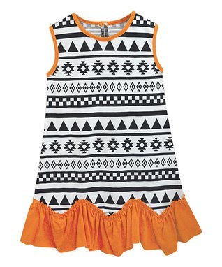90deb8e34b Black   Orange Geometric Cordelia Ruffle-Hem Sleeveless Dress - Infant