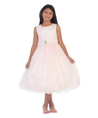 Pink Floral Brooch Sleeveless Dress - Toddler   Girls 073037790828