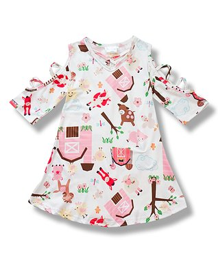 b0c5a5ee8dad White Barnyard Cutout-Sleeve Tunic - Toddler & Girls