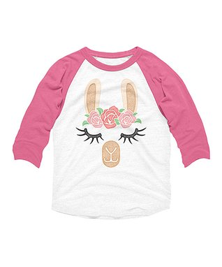0c5bf7e245654 White   Hot Pink Flower Crown Llama Raglan Tee - Girls