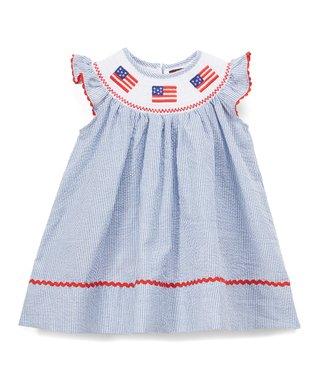 48107c6aa63c Dark Blue Seersucker Smocked Angel-Sleeve Dress - Infant