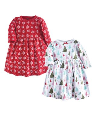 628422bedf37 Red & White Sparkle Tree Babydoll Dress - Infant