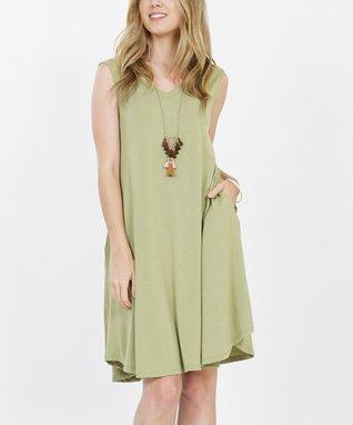 5c24df72d2ed2 Sage V-Neck Sleeveless Curved-Hem Pocket Shift Dress - Women   Plus