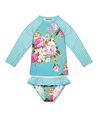 0083650cd7 Turquoise Floral   Stripe Rashguard Set - Infant