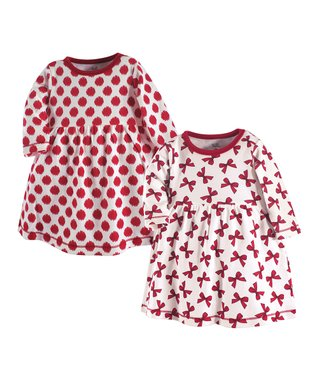 d8f8bdae727 White   Red Dot   Bow A-Line Dress Set - Infant