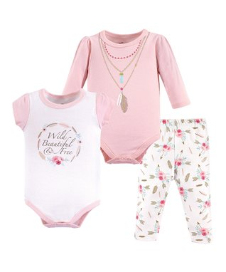 30e484da6a9 White   Pink  Wild   Beautiful  Three-Piece Bodysuit Set - Infant