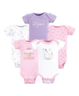 b125b539a682 Pink   Purple Unicorn Bodysuit - Set of Five
