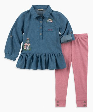 18cc5957066e Blue Ruffle-Hem Button-Front Top & Pink Leggings - Infant