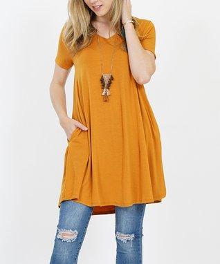 7ab15b97bd52ed Desert Mustard V-Neck Short-Sleeve Curved-Hem Pocket Tunic - Women & Plus